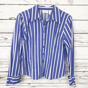 WORTHINGTON blue white striped button down shirt